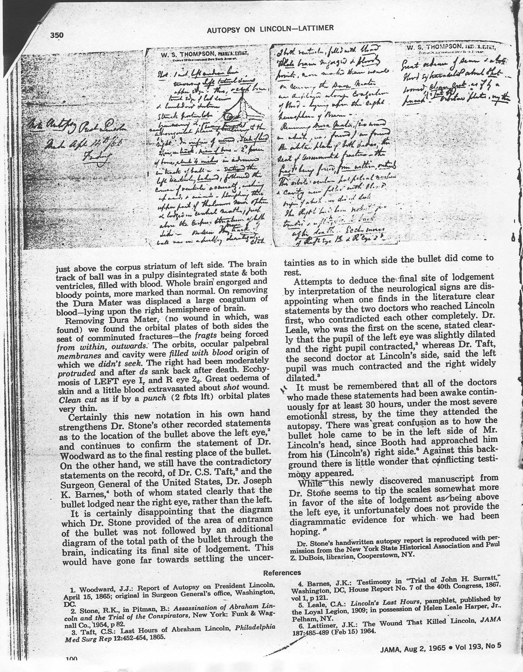 Lincoln S 1865 Autopsy Report And Death Certificate