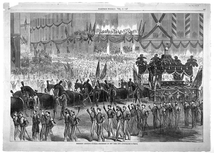 Harper's Weekly illustration of Abraham Lincoln's funeral ...